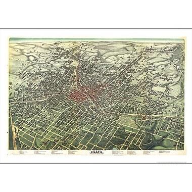 Universal Map Atlanta 1892 Historical Print Mounted Wall Map