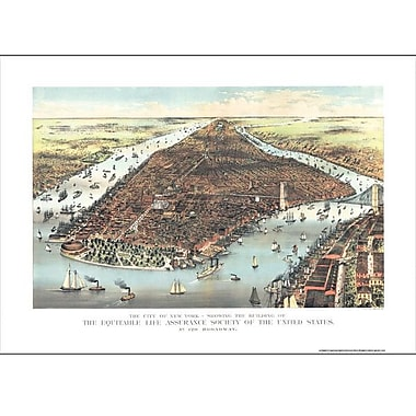 Universal Map New York 1883 Historical Print Mounted Wall Map