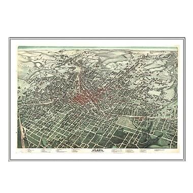 Universal Map Atlanta 1892 Historical Print Mounted Framed Wall Map; Silver