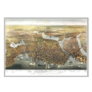 Universal Map Boston 1873 Historical Print Mounted Framed Wall Map; Silver
