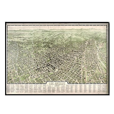 Universal Map Los Angeles 1909 Historical Print Mounted Framed Wall Map; Black