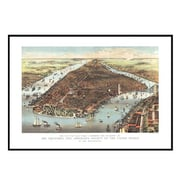 Universal Map New York 1883 Historical Print Mounted Framed Wall Map; Black