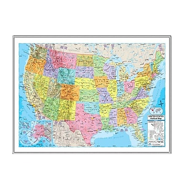 Universal Map United States Advanced Political Mounted Framed Wall Map; Silver