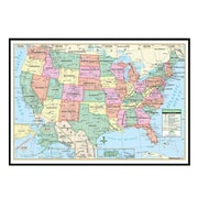 Universal Map United States Primary Mounted Framed Wall Map; Black