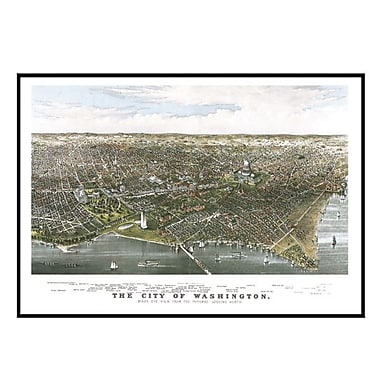 Universal Map Washington 1880 Historical Print Mounted Framed Wall Map; Black