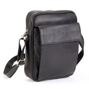 Le Donne Leather iPad/E-Reader Carry All Shoulder Bag; Black