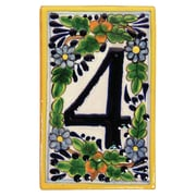 Native Trails Hand Painted House Number '0' in Peaches Address Plaque; 4