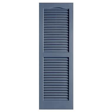 Alpha Shutters Exterior 14'' x 35'' Louvered Shutter (Set of 2); Blue