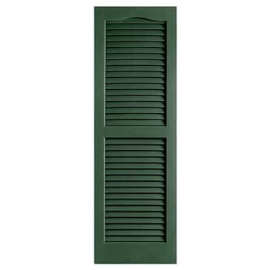 Alpha Shutters Exterior 14'' x 47'' Louvered Shutter (Set of 2); Green