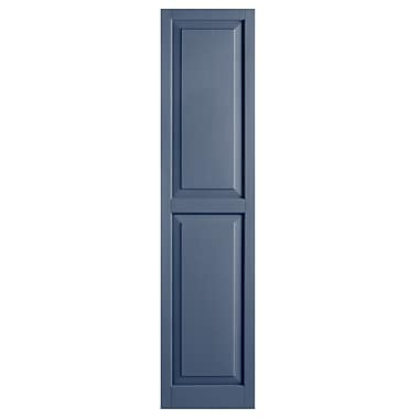 Alpha Shutters Exterior 15'' x 55'' Raised Panel Shutter (Set of 2); Blue