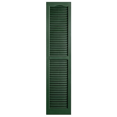 Alpha Shutters Exterior 14'' x 59'' Louvered Shutter (Set of 2); Green