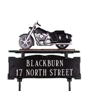 Montague Metal Products Two Line Lawn Address Sign with Motorcycle; Black/Chrome