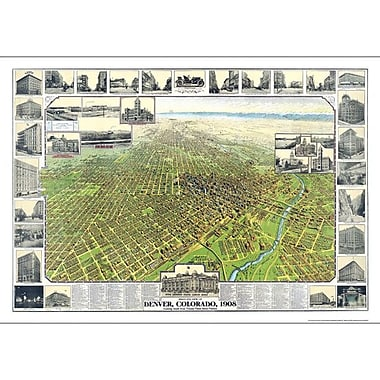 Universal Map Denver 1908 Historical Print Mounted Wall Map