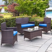 DHI Coronado 4 Piece Seating Group with Cushions; Blue