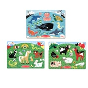 "Melissa & Doug Peg Puzzle Bundle Farm Animals, Pets and Sea Creatures 11.6"" x 8.9"" x 1.95"" (8079)"