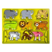 "Melissa & Doug Stacking Wooden Chunky Puzzle Zoo Animals 15.7"" x 11.7"" x 0.7"" (9024)"