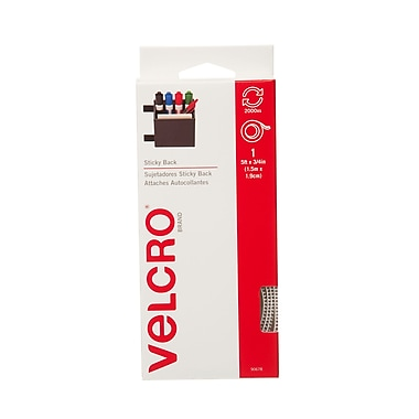 Velcro Sticky Back Fasteners Tape Dispenser, 5', White
