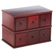 Leslie Dame Apothecary Modular Multimedia Tabletop 6 Drawer Storage Rack; Cherry