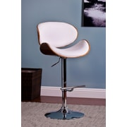 AC Pacific Adjustable Swivel Bar Stool with Cushion; White
