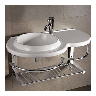 Whitehaus Collection Isabella Large Round Bowl Bathroom Sink w/ Chrome Shelf and Towel Bar