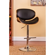 AC Pacific Adjustable Swivel Bar Stool with Cushion; Black