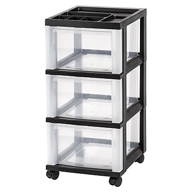 IRIS® 3-Drawer Storage Cart, Black, 2 Pack (116807)