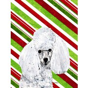 Caroline's Treasures White Toy Poodle Candy Cane Christmas House Vertical Flag