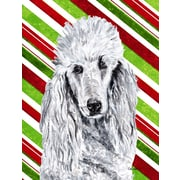 Caroline's Treasures White Standard Poodle Candy Cane Christmas House Vertical Flag
