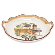 Lorren Home Trends Mona Lisa Round Wavy Edge Platter With Handles