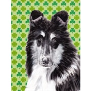 Caroline's Treasures Black and White Collie Lucky Shamrock St. Patrick's Day House Vertical Flag