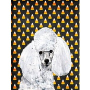 Caroline's Treasures White Toy Poodle Candy Corn Halloween House Vertical Flag