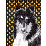 Caroline's Treasures Black and White Collie Candy Corn Halloween House Vertical Flag