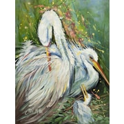 Caroline's Treasures White Egret in the Rain House Vertical Flag