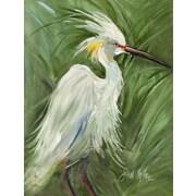 Caroline's Treasures White Egret in Green grasses House Vertical Flag