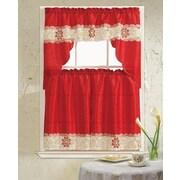 Daniels Bath Lilian 3 Piece Curtain Set; Burgundy
