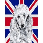 Caroline's Treasures White Standard Poodle w/ English Union Jack British Flag House Vertical Flag
