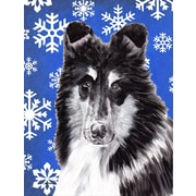 Caroline's Treasures Black and White Collie Winter Snowflakes House Vertical Flag