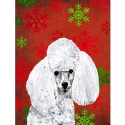 Caroline's Treasures White Toy Poodle Red Snowflakes Holiday House Vertical Flag