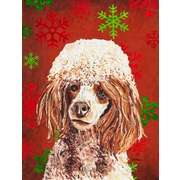 Caroline's Treasures Red Miniature Poodle Red Snowflakes Holiday House Vertical Flag