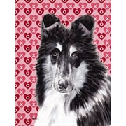 Caroline's Treasures Black and White Collie Hearts and Love House Vertical Flag