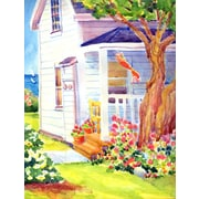 Caroline's Treasures White Cottage House at the lake or Beach House Vertical Flag