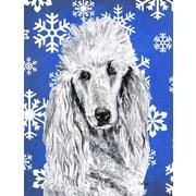 Caroline's Treasures White Standard Poodle Winter Snowflakes House Vertical Flag