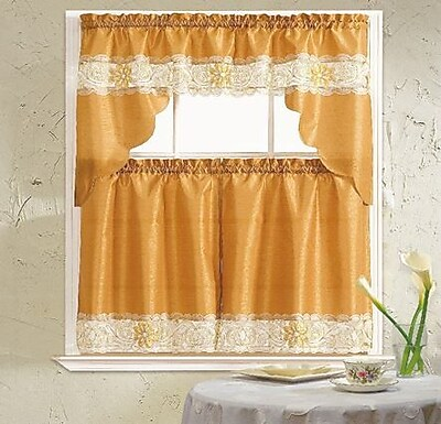 Daniels Bath Lilian 3 Piece Curtain Set; Gold WYF078277914528