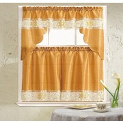 Daniels Bath Lilian 3 Piece Curtain Set; Gold