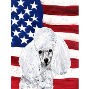 Caroline's Treasures White Toy Poodle with American Flag USA House Vertical Flag