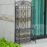 International Caravan Charleston 5-Tier Iron Indoor/Outdoor Bakers Rack; Pewter