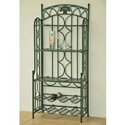 International Caravan Charleston 5-Tier Iron Indoo/rOutdoor Bakers Rack; Verdigris