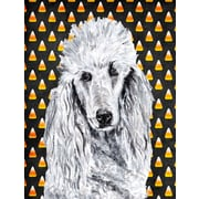 Caroline's Treasures White Standard Poodle Candy Corn Halloween House Vertical Flag