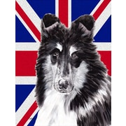 Caroline's Treasures Black and White Collie w/ English Union Jack British Flag 2-Sided Garden Flag