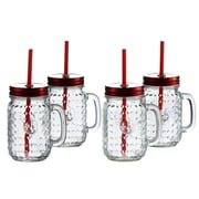 Style Setter Rooster 16 oz. Mug with Handle and Straw (Set of 4)